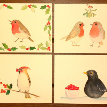 Bird Christmas cards. Unique set of Xmas cards. Finnish paintings. Holiday greeting cards. Bird art. Original watercolor paintings.