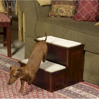 Decorative Wood Dog Steps - Cherry