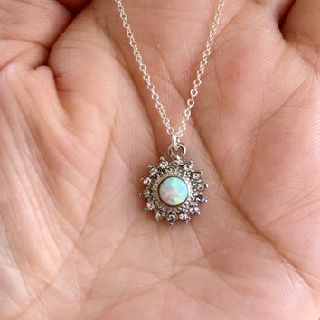 White Opal Sun Necklace. Silver Necklace. Opal Necklace.