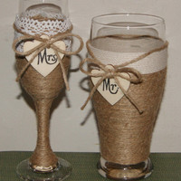 Wedding Champagne Glass / Woodland Wedding / Beer Glass and Champagne Flute / Rustic Wedding Toasting Glasses / Country Wedding Glasses