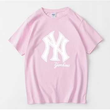 NY Summer Fashion New Letter Print Women Men Leisure Top T-Shirt Pink