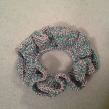 Ponytail hair scrunchie, crochet scrunchie, PALE PINK and TURQUOISE hair scrunchie, ponytail hair accessories, hair tie