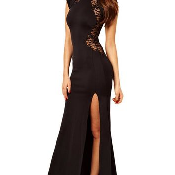 Chicloth Maxi Dress with Lace Back and Fishtail