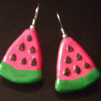 Watermelon Slice Earrings made with Sculpey clay