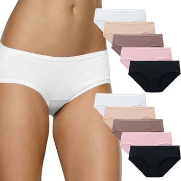 Fruit of the Loom 10 Pack Womens Microfiber Low Rise Hipster Panties Underwear Briefs Tag Free