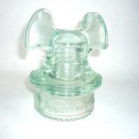 Vintage Glass Insulator Hemingray 60 Mouse Ears Light Green