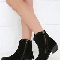 Report Signature Von Black Suede Leather Mid-Calf Boots