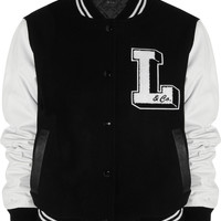 Lulu & Co | Wool-blend and leather varsity jacket | NET-A-PORTER.COM