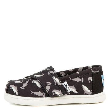 MDIGH3W Tiny Toms Classic Shark Print Black Flats