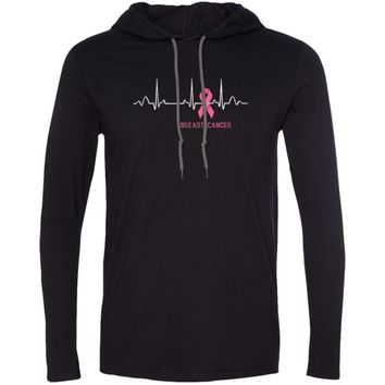 Breast Cancer Heartbeat with Pink Ribbon 987 Anvil LS T-Shirt Hoodie