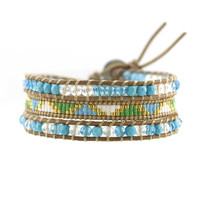 Turquoise and Crystal with Miyuki Glass Seed Beads on Natural Leather Wrap Bracelet