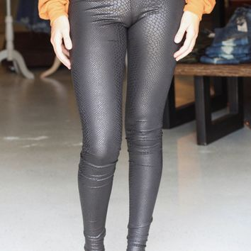 Black Crackle Faux Leather Leggings