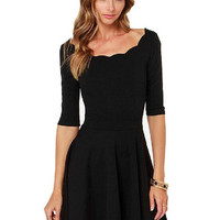 Black Scallop Skater Dress