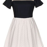 Block Party Dress | Navy White Mesh Twofer Skater Dresses | RicketyRack.com