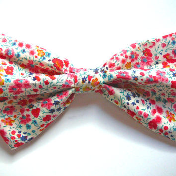 Liberty London Bow - Floral Hair Bow - Liberty of London Hair Bow - Fabric Barrette