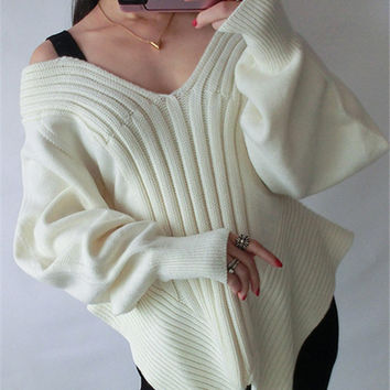 Cold Open Shoulder Long Puff Sleeve Loose Knitted Sweater