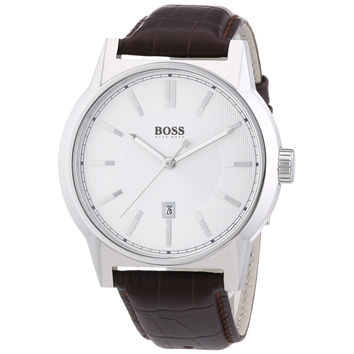 Hugo Boss 1512912 Men's Silver Dial Brown Leather Strap Quartz Watch