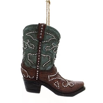 Holiday Ornaments COWBOY BOOT Polyresin Studs Tassel Stars 9733629 Teal