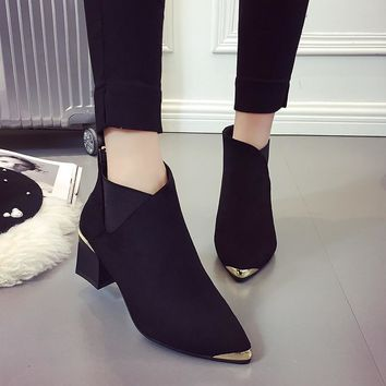 2018 Autumn Winter Fashion Woman Boots High Heels women Leather Ankle Boots Sexy Pointed Toe Metal Martin Boots