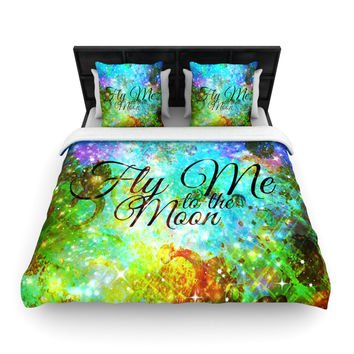 "Ebi Emporium ""Fly Me To The Moon"" Green Blue Woven Duvet Cover"