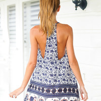 Printed Sleeveless Spaghetti Strap Halter A-Line Mini Dress