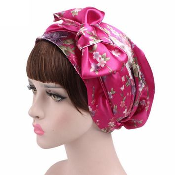 Women Printed Hat Bowknot Cancer Chemo Hat Beanie Turban