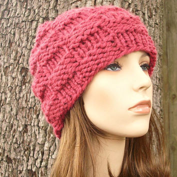 Valentines Day Sale - Hand Knit Hat Womens Hat - The Basketweave Beanie in Raspberry Pink - READY TO SHIP - Winter Accessories