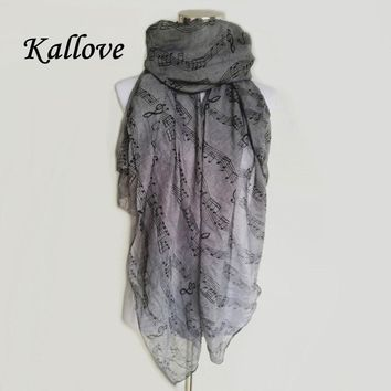 New Fashion Women Music Note Print Long Scarf Elegant Scarves Neck Wrap Stole Neckerchief High Quality lady scarves