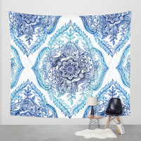 Indian Ink - in Blues Wall Tapestry by Micklyn