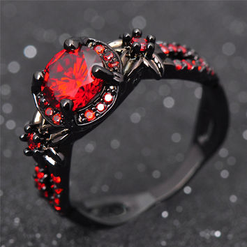 Fashion Flower Shiny Red Ring Red Garnet Women Charming Engagement Jewelry Black Gold Filled Promise Rings Bijoux Femme RB0435