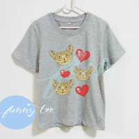 Heart shirt face cat Abyssinian kitten Crew neck sweatshirt Short sleeve tee shirts+off white or grey toddlers shirt +kids girl boy clothes