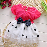 1-3 years old baby girls dress summer cotton material Free shipping 2016 new style dot bow baby clothes princess infant dresses
