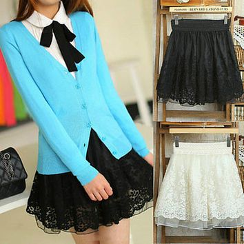 Ladies Lace Skirts Women Classic High Waist Fringes Tassels Floral Lace Mini Skirt