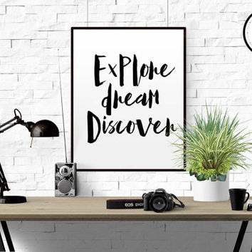 Explore dream discover mark twain quote inspirational quote motivational quote quote poster wall decor Travel Quote Printable Art Eat well