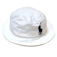 Polo Ralph Lauren Mens Bucket Hat Big Pony Logo Cap Solid (BLUE, LARGE/XLARGE)