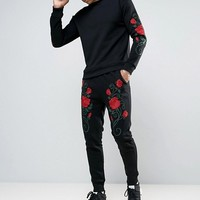 Liquor & Poker Embroidered Roses Jogger at asos.com