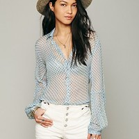 Free People Sheer Dot Buttondown Shirt