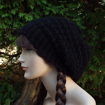 Black Slouchy Crochet Hat - Womens Slouch Beanie - Oversized Slouchy Beanie - Chunky Hat - Winter Slouchy Hat