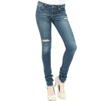Cut my knees distressed slim skinny jeans dark wash by Just USA