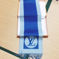 LOUIS VUITTON LV Muffler Scarf Scarves Wool Cashmere Mens Blue Auth Rare M70519