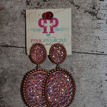 Pink Panache rose gold/AB double oval earrings