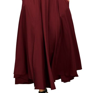 Chicloth Red Retro High Waist Pleated Belted Maxi Skirt