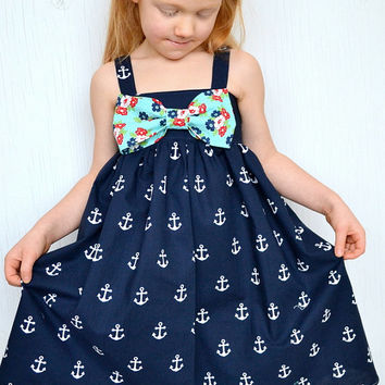 Little Girls Dress, Nautical Sailor Theme Dress, Big Bow Dress, Baby and Toddler, Blue, White, Red Dress. Available Sizes NB-2T Last One!!