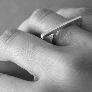 Geometric Ring Sterling Silver Minimalist Squared Ring Modern Edgy Ring by SteamyLab