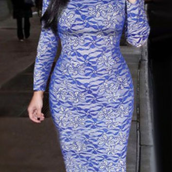Blue Long Sleeve Bodycon Lace Dress