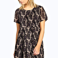 Penny Peacock Print Smock Dress
