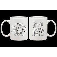 Stealing Hearts - His and Hers Romantic Couple Coffee Mugs
