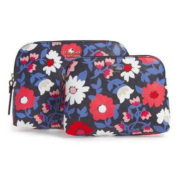 kate spade new york cameron street - daisy briley set of 2 coated canvas cosmetic cases   Nordstrom