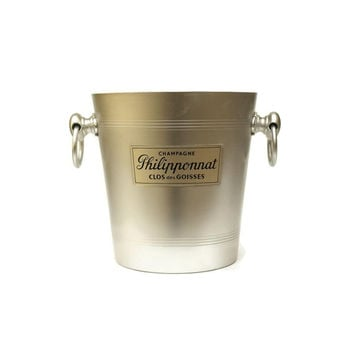 Philipponnat French Champagne Bucket. Aluminum Ice Bucket with French Advertising. Vintage Barware French Wine Cooler.