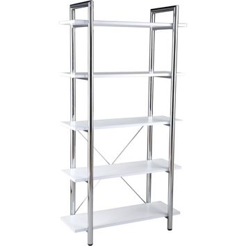 Laurence 5 Shelf Leather Bookcase White & Chrome